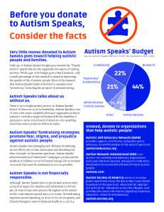 Before you donate to Autism Speaks, consider the facts.